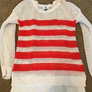 Coral striped sweater